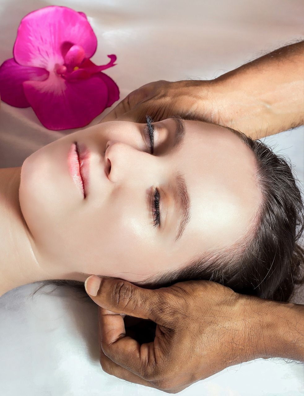 woman, young, massage